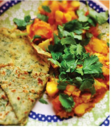 Coconut Dosa with Gobi Palak, my favorite gluten free, vegan Indian Food #recipe