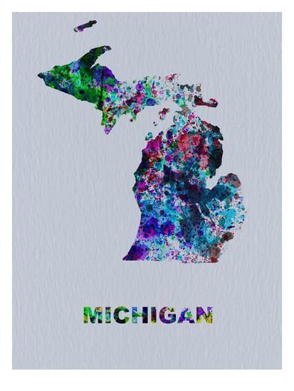 Michigan Color Splatter Map Art Print by NaxArt at Art.com