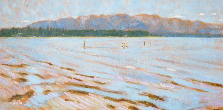 "Swimmers, BC Day, Qualicum Beach BC. © Chris Dahl 2014. 12x24"" oil on canvas (framed) $1,000. 16x20"" signed archival giclée artist's proof (unframed) $180. Free shipping within North America. http://chrisdahlcreative.com/paintings/the-pacific/"