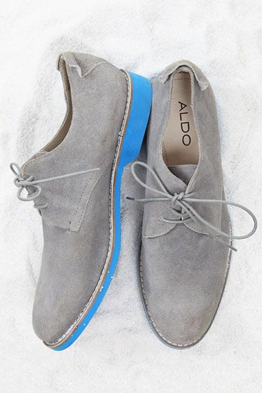 gray suede shoes with a hint of blue