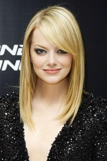 Emma Stone's Blonde Straight Hairstyle With Bangs   Love this haircut but I do like her better as a redhead.