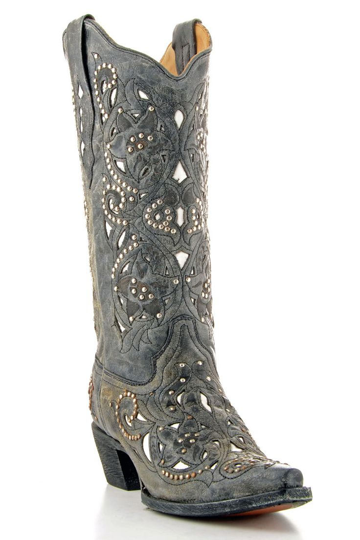 images of women's cowgirl boots | Corral Boots Women's Black Crater Inlay Cowgirl Boots