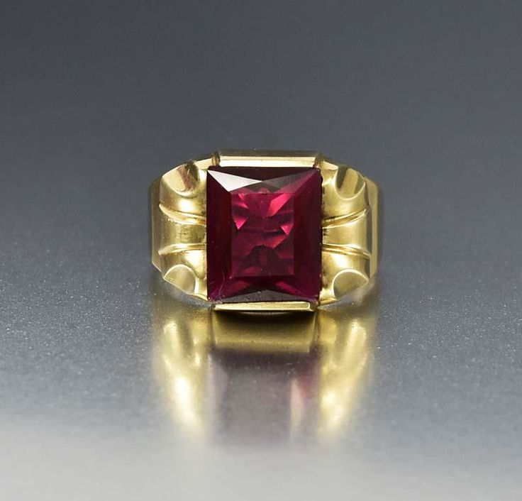 Mens Art Deco Gold and Ruby Ring  #Mens #Ruby #Ring #Gold #intage #Deco #Art #Men #Geometric #Neiger