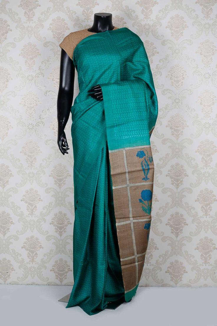 #Peacock #blue pure #tussar silk trendy #saree with peacock blue border -SR13971