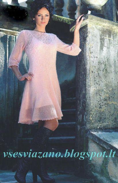 """ВСЕ СВЯЗАНО. ROSOMAHA.: Платье из кидмохера """"Нежный персик"""""""