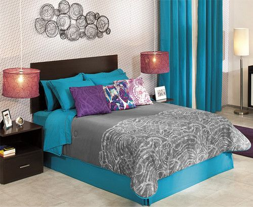 Details About New Gray Blue Aqua Turquoise White Comforter