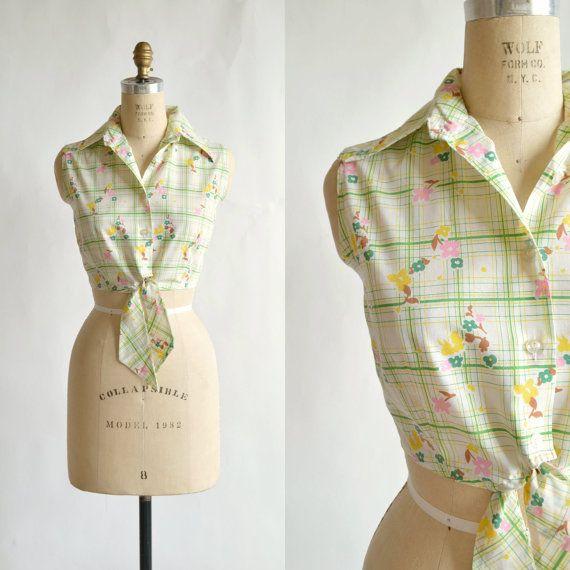 1970s Crop Top --- Vintage Cotton Blouse