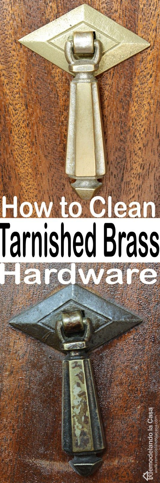 Wow - what a difference! How to Clean Tarnish from Old Hardware