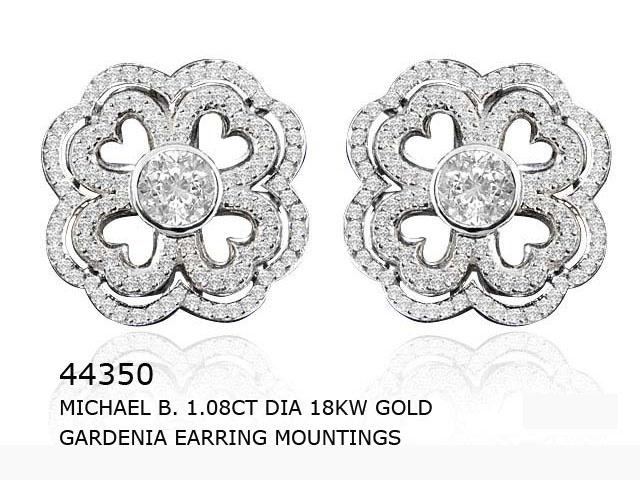 Michael B. designer Gardenia earring mountings featuring 1.08ct dia in 18kw gold.
