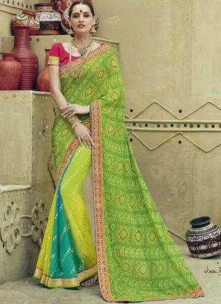 Green Shaded Georgette Bandhej Printed Zari ' Embroidery Work Party Wear Sarees http://www.angelnx.com/Sarees