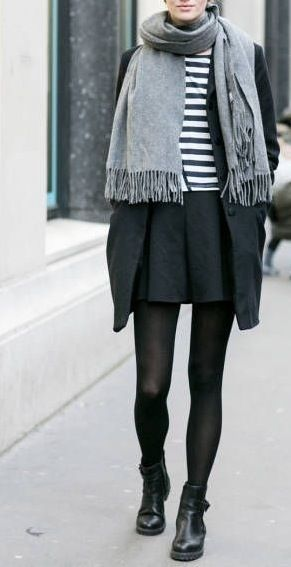 Minimal + Chic outfit. Black simple booties, black tights, simple black skirt, striped tee. Black coat and gray big scarf. Fashion inspiration. Streetstyle.