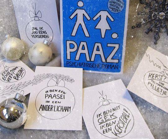 De allereerste druk van PAAZ: met de beruchte Depressieve Kerstbalkaarten! :)