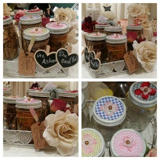 Food Kunchas (Engagement gifts). .using consol jars..  @Gifts by Zy