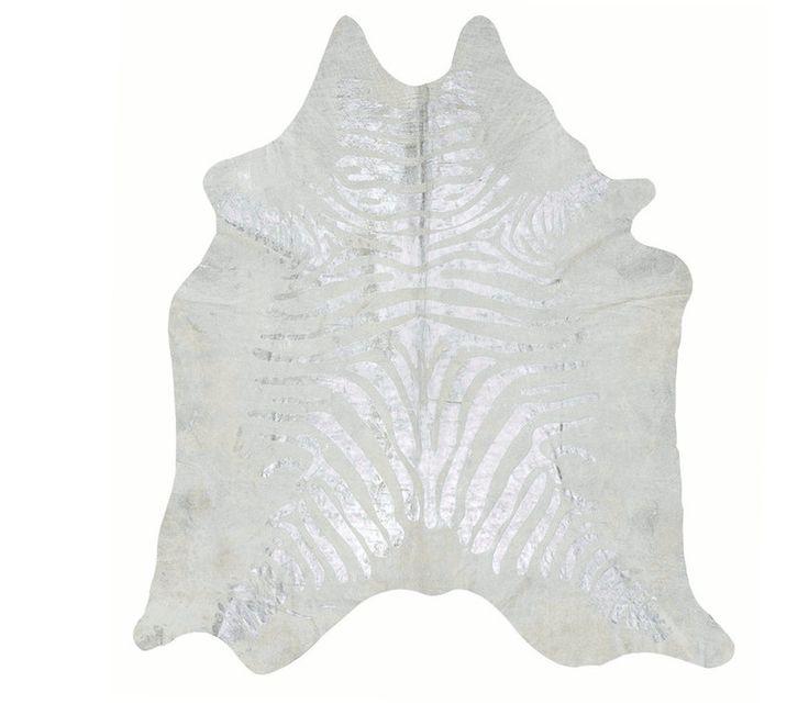 Zebra Printed Cowhide Rug - Silver / Pearl