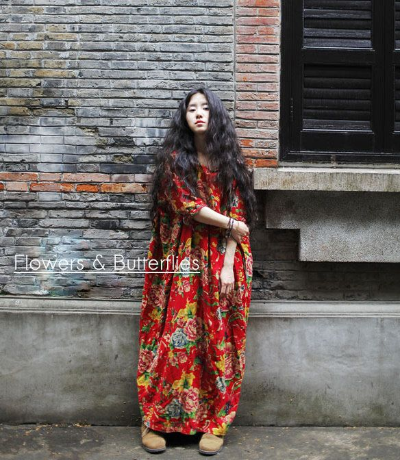 WORLDWIDE FREE SHIPPING Red or Green Women Linen Dress Plus Size Long Loose Oversized Floral  Maxi Loose Lagenlook Boho Dress Cotton Long by FlowersButterflies15 on Etsy