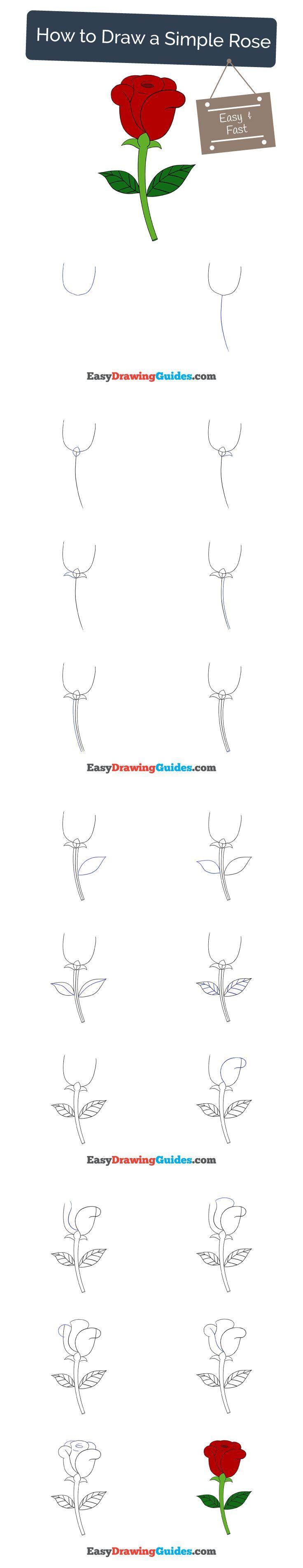 Learn How to Draw a Simple Rose: Easy Step-by-Step Drawing Tutorial for Kids and Beginners.#rose #flower #drawing. See the full tutorial at https://easydrawingguides.com/how-to-draw-a-simple-rose/