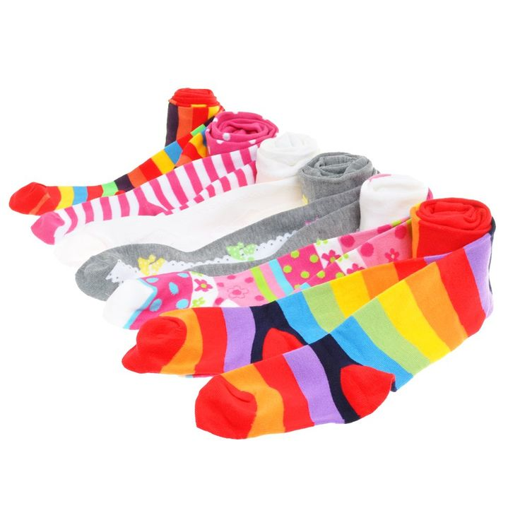 Angelina 6-Pack Girls Winter Tights [Heel and Toe] Assorted Patterns #0031_L