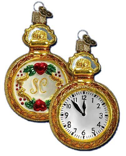 Christmastime   Santa's Pocket Watch Ornament   Old World Christmas Glass Ornaments