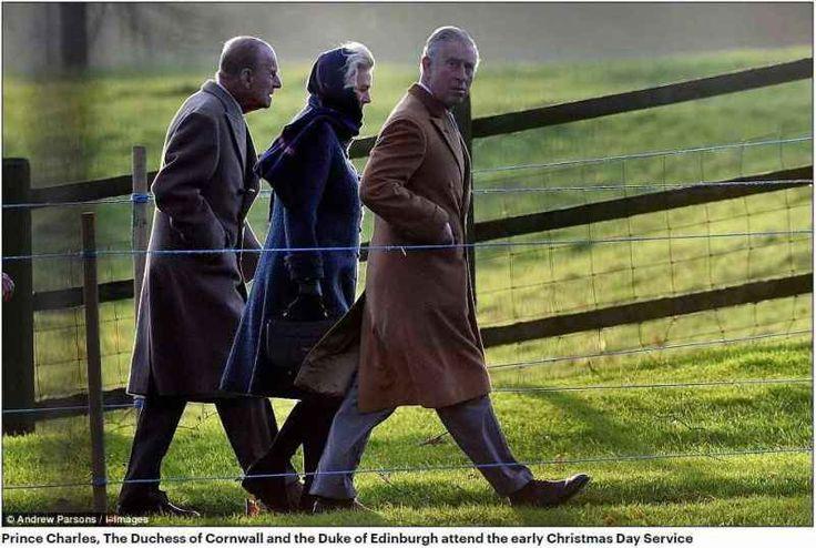 Принц Чарльз, герцогиня Корнуолла и герцог Эдинбургский посещать службы раннего Рождество