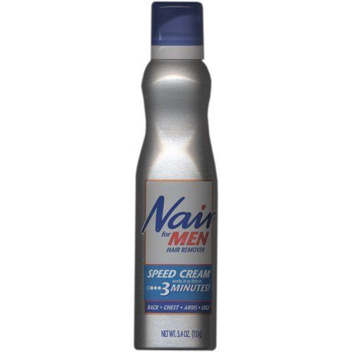 Nair For Men Hair Removal Speed Cream-5.4 oz by Nair. $5.79. For Smooth, Clean-Looking Skin.  Lasts Days Longer Than Shaving.BackChestArmsLegsDermatologist tested Nair® for Men Speed Cream provides a complete hair removal regimen that removes unwanted hair and exfoliates and moisturizes your skin in one easy step.