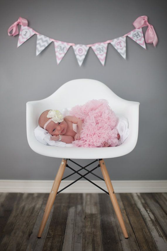 Pregnancy & Baby's First Year Pennant Banner / Newborn Monthly Photo Prop / Pink and Gray Chevron / Custom Baby Shower Decor / Countdown on Etsy, $32.00