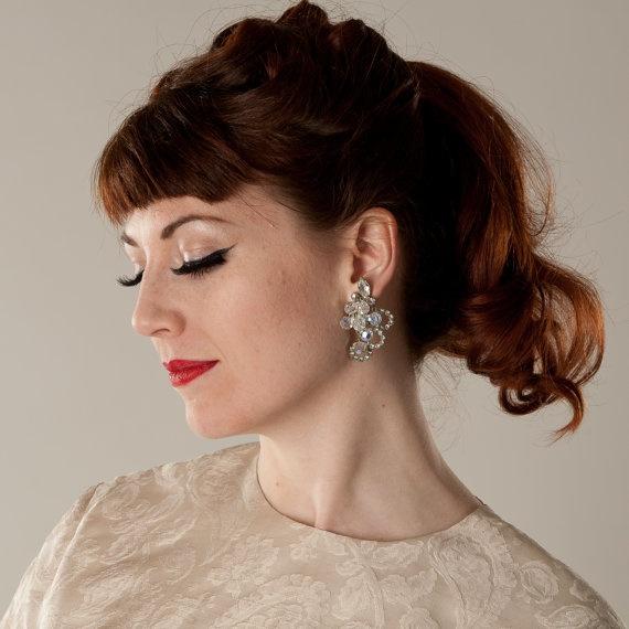 Vintage 1960s Chandelier Earrings #vintage #wedding #earrings #clipon #chandelier #rhinestone #1960s #madmen @Etsy: Vintage Weddings, Vintage Wedding Earrings, 1960S Wedding