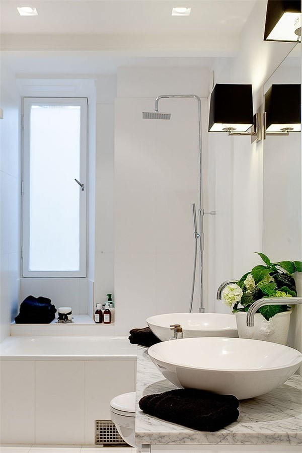 Modern classic bath. Sconces, vessel sinks, shower head #Home #Decor #Bath - http://www.IrvineHomeBlog.com/HomeDecor/ ༺༺ ℭƘ ༻༻ - Christina Khandan Serves International Clients in Irvine, California