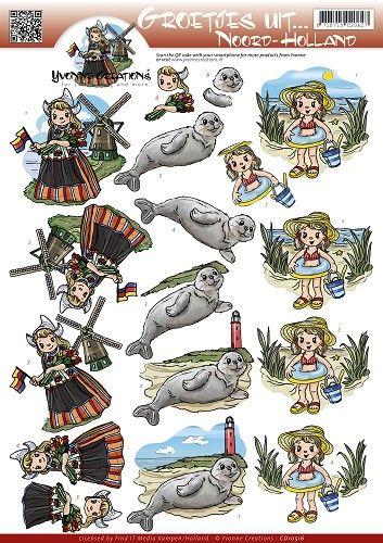 Knutselkraam.nl   3D A4 Knipvel Yvonne Creations - Groetjes uit... Noord-Holland CD10516