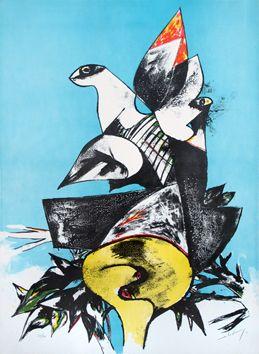 Gianni Dova: Birds, 1962 - lithograph