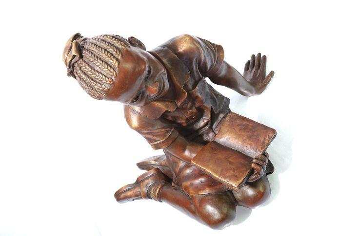 African School Girl bronze sculpture by James Cook