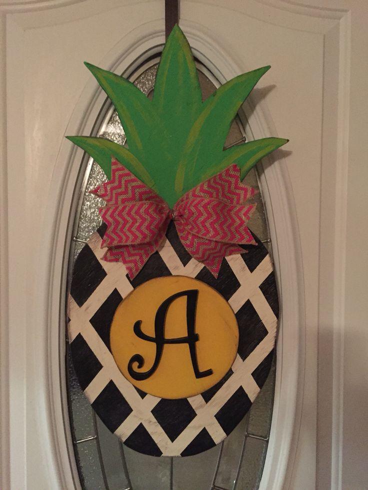 pineapple door hanger & 126 best Pineapple Door Hangers images on Pinterest | Burlap door ...