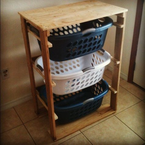DIY Pallet Projects & Ideas   DIY Laundry Basket Organizer   Amazing Do It Yourself Projects Made With Wooden Pallets   Living Room, Bedroom, Indoor and Outdoor, Kitchen, Patio. Coffee Table, Couch, Dining Tables, Shelves, Racks and Benches http://www.thrillbites.com/35-diy-pallet-projects-ideas