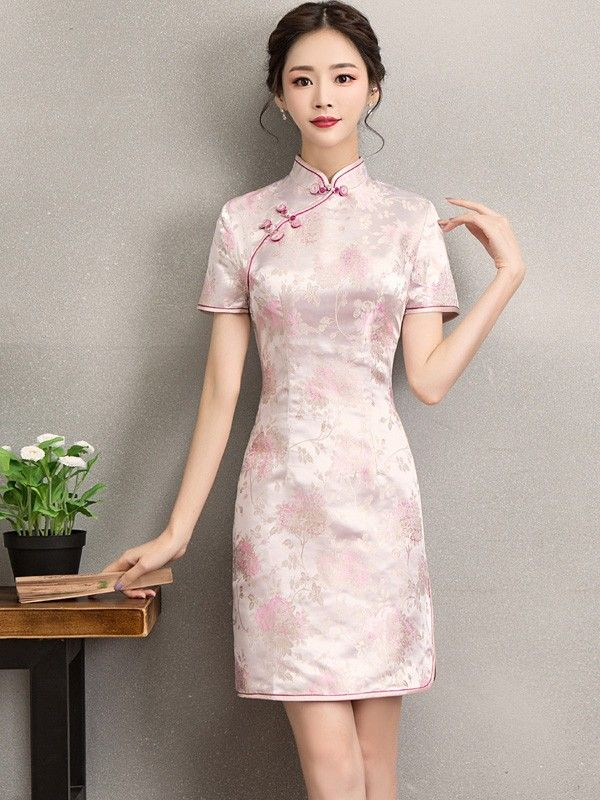 7a7a4f62ebc9 Pink Floral Embroidered Silk Qipao / Cheongsam Dress | Fashion in ...