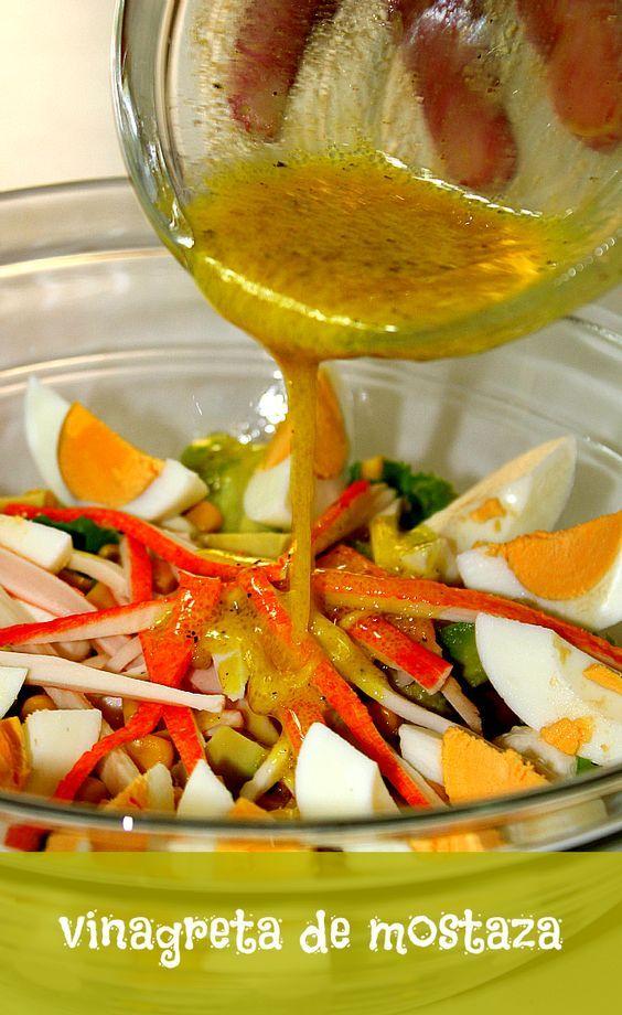 Vinagreta de mostaza | LAS SALSAS DE LA VIDA. Ingredientes 4 cucharadas de aceite de oliva. 2 cucharadas de vinagre de vino blanco. 2 cucharadas de jugo de limón. 1 cucharada de mostaza. Pimienta negra molida. Preparación Mezclamos en un bol el aceite de oliva, el vinagre y la mostaza. Añadimos el jugo de limón, la pimienta al gusto, y removemos hasta que se mezclen bien todos los ingredientes.: