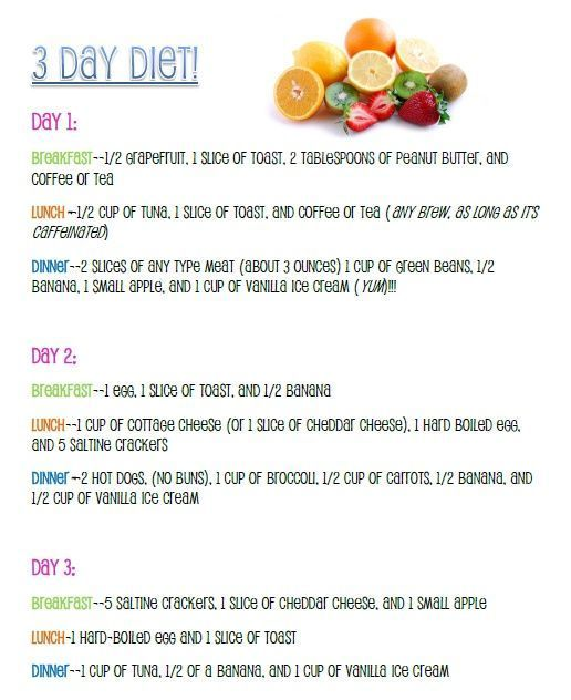 3 day military diet. Quick weight loss   solution.  I'm reposting this cause I did try it and lost about 6-7 lbs. It was   easy and although I did'nt cheat at all however I need my coffee or I get a   headache so I had just a half a cup black coffee in the morning. Will be doing   it again this week.