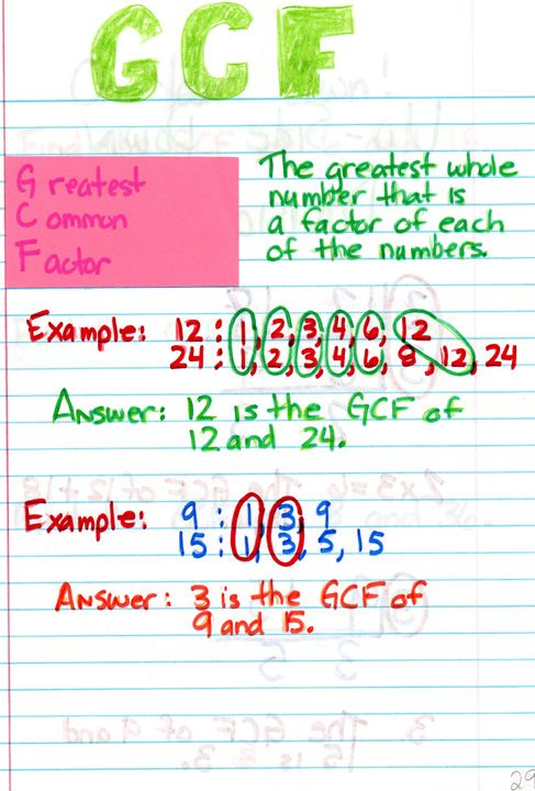 """Greatest Common Factor: A nice way to set up notes without using the """"upside down cake"""" method."""