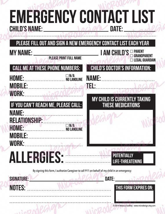 emergency contact form for nanny babysitter or by microdesign