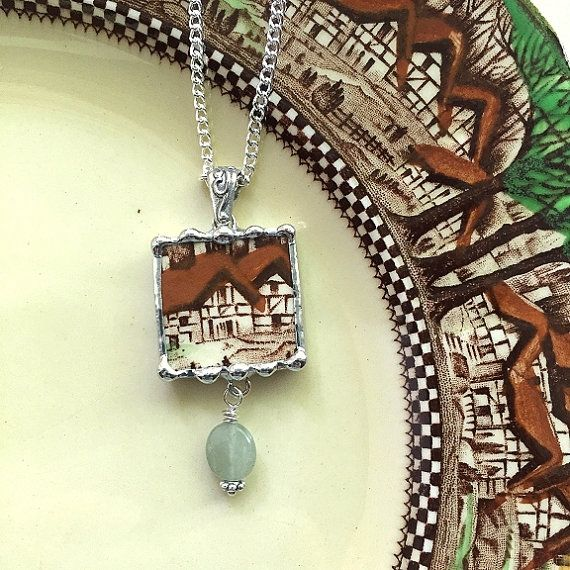 Broken china jewelry pendant necklace by dishfunctionldesigns