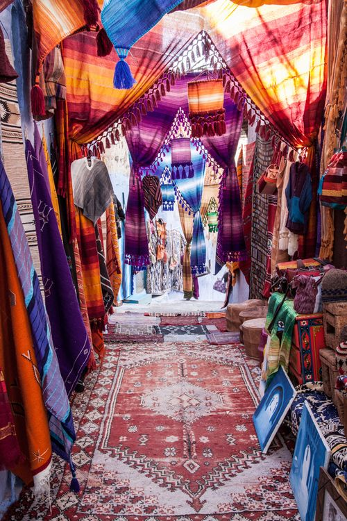 Chefchaouen, Morocco. Colourful moroccan textiles - for in a doorway or in front of a window?