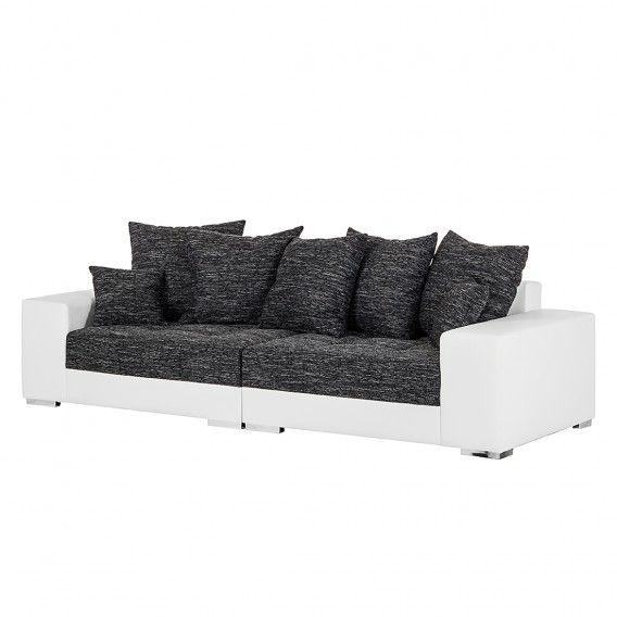 Grand Canape Cinder Cuir Synthetique Blanc Tissu Structure Noir Grand Canape Canape Palette Et Coussin Pour Palette
