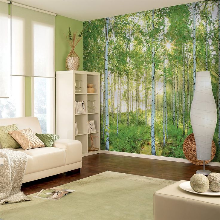 Lowes Wall Murals provincial wallcoverings 8-519 sunday birch forest mural | lowe's