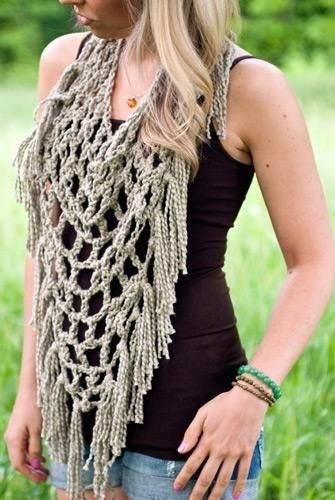 Free Pattern for a Triangle Fishnet Fringe  Scarf  http://corn-flower-blue.blogspot.nl/2013/06/free-crochet-pattern.html?m=1