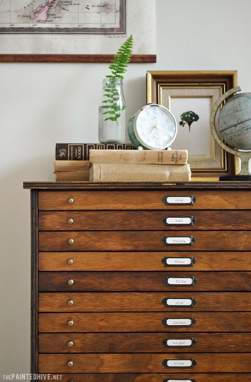 Transform a basic chest of drawers into antique-style multidrawer map cabinets.