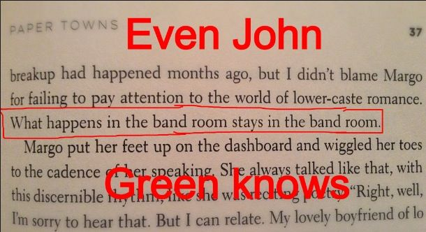 I now wish I got Paper Towns the other day instead of Looking for Alaska so I could find this...