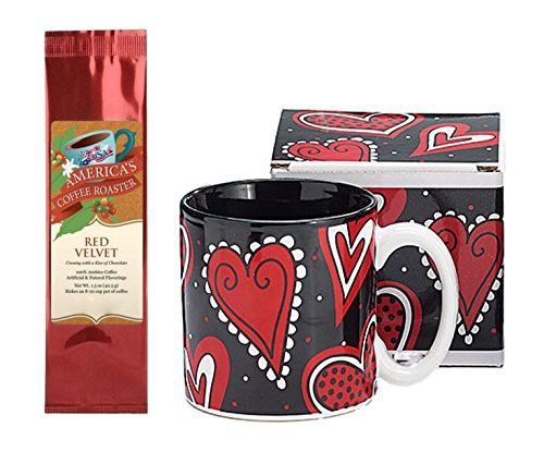 Scattered Red Black Hearts and Dots Valentine Mug with Red Velvet Coffee Gift Set Bundle (2 Items)