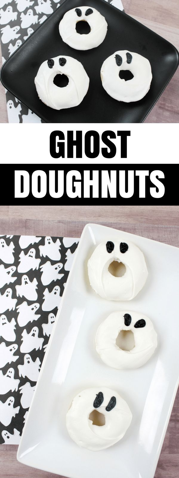 Everyone is sure to love these super cute ghost doughnuts this #Halloween. And, you will love how amazingly quick and easy they were to make!