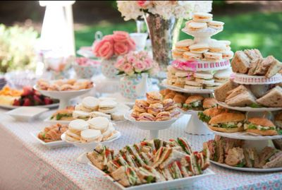 this kind of gives you an idea of the different levels for the food tables, with platters, bowls and tiered stands