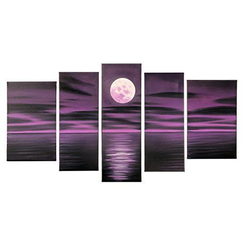 VASTING ART 5Panel 100 HandPainted Oil Paintings Landscape Seascape Purple Night Moon Sea Modern Abstract Artwork Stretched Wood Framed Ready To Hang Home Decoration Wall Decor Living Bedroom Dark ** Details can be found by clicking on the image.