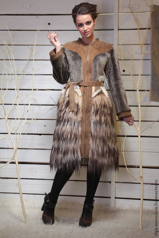 """Купить Пальто женское из овчины и яка """"Деметра"""" - коричневый, пальто, пальто из меха, пальто с мехом:"""