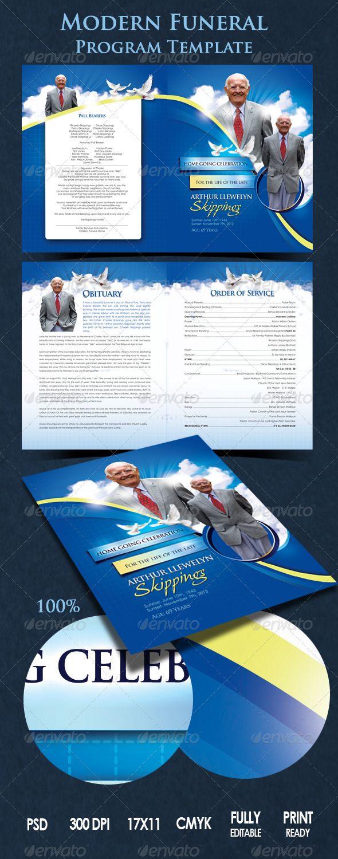 Modern funeral program for 531 program template